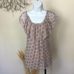 Romantic PERIDOT ruffle blouse. Pink and grey